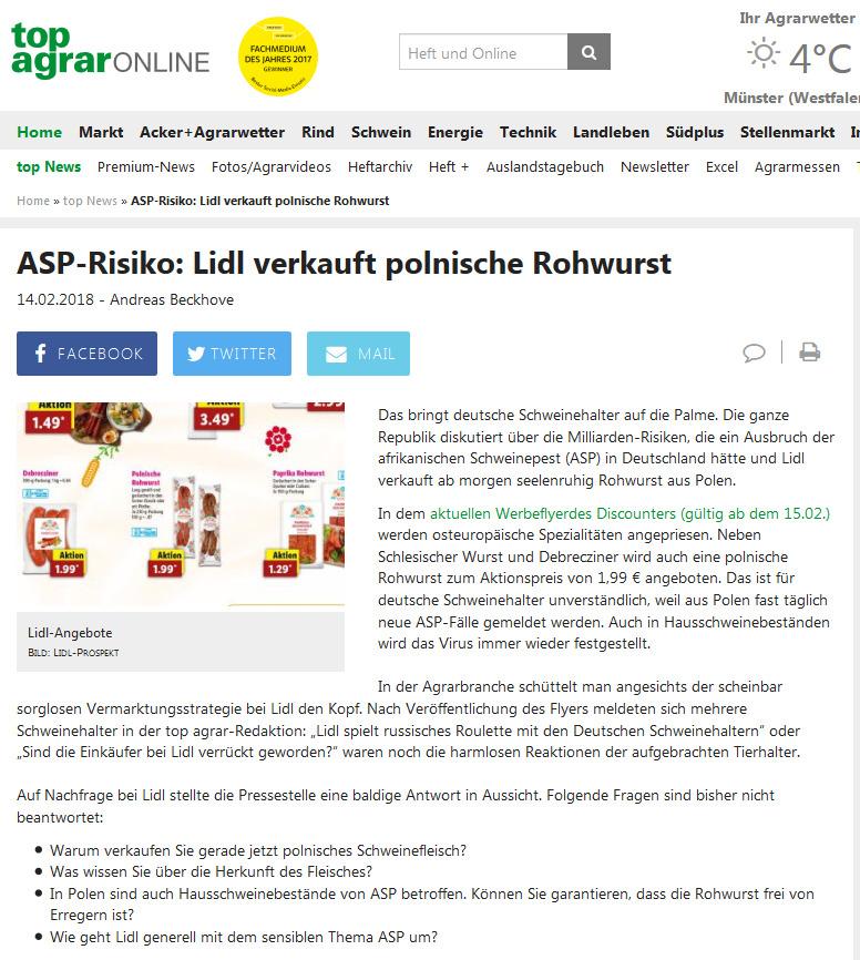 Top agrar berichtet: ASP-Risiko Lidl verkauft polnische Rohwurst