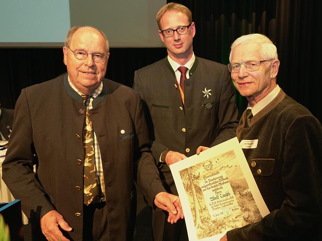 Adolf Tausch mit DJV-Verdienstnadel in Gold geehrt