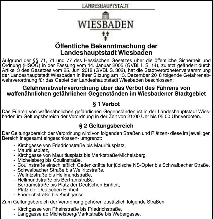Waffenverbotszonen zum Jahreswechsel und ab 1. Januar in Wiesbaden